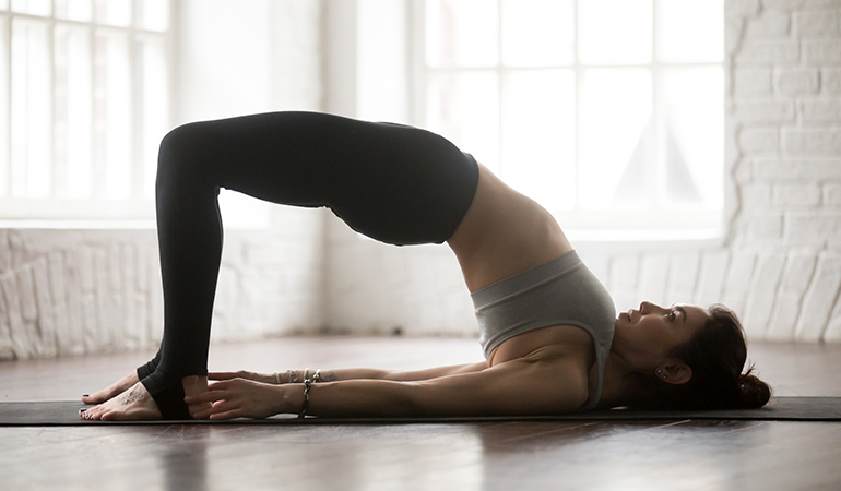 The Bridge (Setu Bandha Sarvangasana)_Yoga Asanas For Upper, Middle, and Lower Back Pain Relief